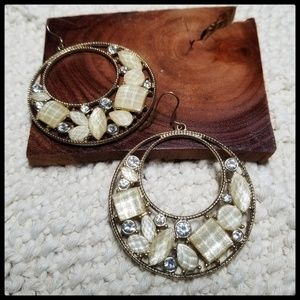 Gold and Neutral Round Dangle Earrings